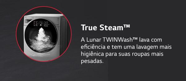 True Steam™ A Lunar TWINWash™ lava com eficiência e tem uma lavagem mais higiênica para suas roupas mais pesadas.