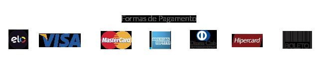 Formas de PagamentoElo, Visa, Master, Amex, Diners, Hipercard ou  Boleto bancário